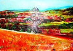 Landschaft mit Schloß Solms Hessen ÖL Leinwand #actionmaler http://actionmaler.de