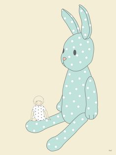 Illustration La p'tite Madeleine https://www.etsy.com/listing/109357918/illustration-le-lapin-bleu-20-x-267-cm