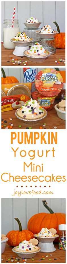 Pumpkin Yogurt Mini Cheesecakes - a delicious, easy and healthy version of pumpkin cheesecake, perfect for an afterschool snack that kids will have a great time assembling and decorating by themselves. #EffortlessPies #shop #ad