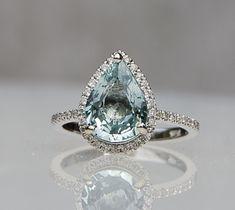 Mint blue green pear sapphire diamond ring white gold engagement ring - The best diamond fashion Peach Sapphire Rings, Sapphire Diamond, Blue Sapphire, Ring Designs, Ring Set, Diamond Jewelry, Bracelets, Finger, White Gold