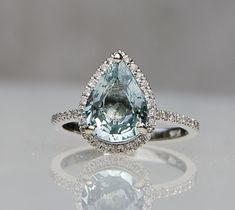 2.42ct Mint blue green pear sapphire diamond ring 14k white gold engagement ring
