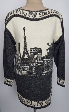 1980s Paris City of Dreams tunic sweater gray and white pictorial design Miss V France 36 inch bust