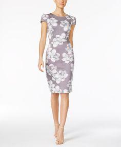 Betsey Johnson Floral-Print Knit Midi Sheath Dress - Dresses - Women - Macy's