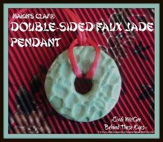 Faux Jade - version 2 - by Cindi McGee made with Makin's Clay® no bake, air dry polymer clay - http://makinsclayblog.blogspot.com/2016/01/faux-jade-pendants-version-2-cha-make.html