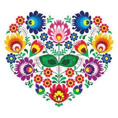 Lengyel Olk art art szív hímzett virágokkal - wzory lowickie photo