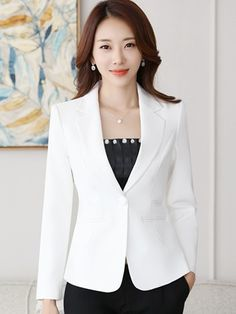 Button Notched Lapel Slim Womens Blazer - Women Blazer Jackets - Ideas of Women Blazer Jackets Casual Blazer Women, Blazers For Women, Coats For Women, Women's Casual, African Wear Dresses, Womens Dress Suits, Sleeves Designs For Dresses, Fashion Photography Poses, Kurti Designs Party Wear
