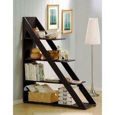 Ladder Shelf Unit Dark Brown Wooden Shelves Home Decor Space Saver Furniture  #Unbranded #Modern