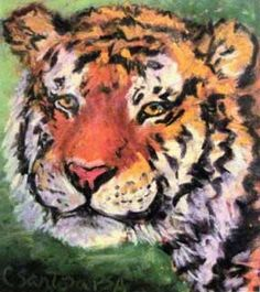 Tiger Painting - pastel tiger painting - click to see larger image Tiger Painting, Larger, Pastel, Animals, Image, Art, Art Background, Cake, Animales
