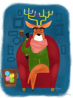 Hipster Deer - postcard, greeting card, tote bag and more