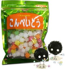 "Kasugai kompeito (also written konpeito) candy, a kind of hard candy that looks like stars, exploding out in all directions. Each package is 6"" x 8"" (15 x 21 cm). As seen in the Ghibli film Spirited Away, by Hayao Miyazaki (this is what Kamaji feeds to the little soot sprites, called Susuwatari). Since this candy has been loved in Japan for more than 400 years, it's also good for fans of traditional Japanese ""dagashi"" treats."