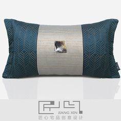 匠心宅品 禅意新中式样板房/高档别墅抱枕藏蓝方贝壳腰枕{不含芯