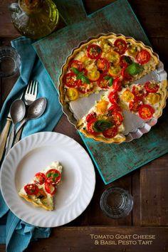 Tomato Goat Cheese & Basil Pesto Tart; LOVE the basil recipe!  try a Paleo crust.