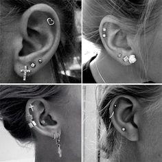 Quero fazer na minha orelha igual a primeira imagem! *-* Como usar brincos e piercings