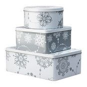 IKEA TRIPP Container with lid, set of 3 gray (réf.: 20188954)