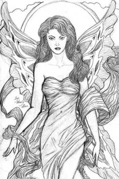 Beautiful angelic fae drawing by Wendy Reynolds - one of only two she has ever done.