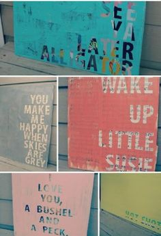 Word art ideas - could decopauge maps or  to cardboard and then make a stencil with a short quote and paint over it