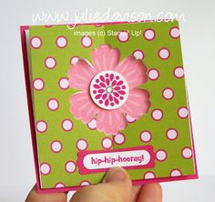 Free video and print tutorials to create this Double Punched Blossom card with Stampin' Up! Mixed Bunch stamp set, created by Julie Davison, http://juliedavison.com