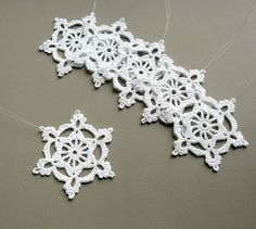 6 Crochet Snowflake Ornaments -- Large Snowflake B84, in White.
