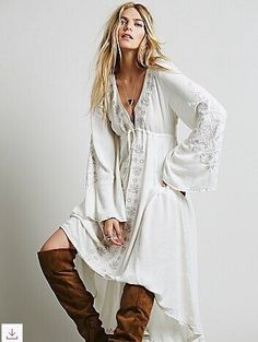 Free shipping Women Ethnic embroidery fabric Deep V-neck cotton linen Tunic Casual loose Long Dress Boho People Style Asymmetry