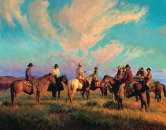 "Bill Owen Hand Numbered Limited Edition Canvas Giclee:""Cowboss Scattering the Hands"" Artist: Bill Owen Title:Cowboss Scattering the Hands Medium: Canvas Giclee Edition Size: 100 Image Dimensions: x / Multipl Cowgirl Photo, Cowboy And Cowgirl, Cow Girl, Comanche Moon, Country Art, Country Life, Le Far West, True Art, Art And Illustration"