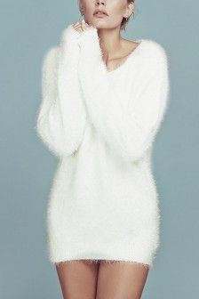 White V Neck Long Sleeve Sexy Mini Sweater Dress