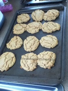 healthy peanut butter cookies... 2 cups peanut butter + 2 cups sugar or honey + 2 tsp. baking soda + 2 eggs --> 350 degrees for 8-10 minutes