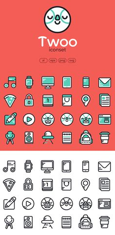 Free Flat Icons Set (AI, EPS, PNG and SVG) - 24 Color & Outline Icons…