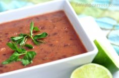 Easiest Black Bean & Salsa Soup from Dancing Carrots. #vegan