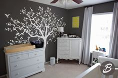 Wall decals for your room, easy to stick!!!! #nursery #walldecal #oracal #tree #birds #whitedesign