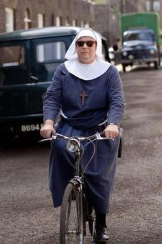 Pam Ferris /Sister Evangelina on her bike in Call the Midwife, marvelous series by the BBC