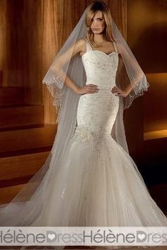 Elegant Trumpet/Mermaid Straps Floor-length Appliques Chapel Wedding Dresses - Trumpet/Mermaid Wedding Dresses - Wedding Dresses