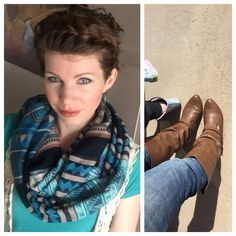 Love this scarf and these boots!