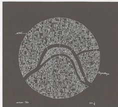 Moscow olympic city abstract map drawing via Etsy