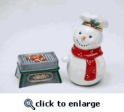 Snowman with Grill Salt and Pepper Shaker Set