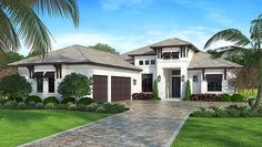 Coastal Contemporary Florida Elevation of Plan 52921