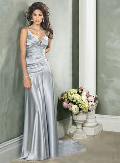 Ruched V Neck Sweep Train Silver Evening Dress