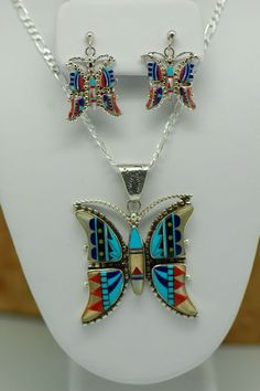 Inlay butterfly earrings & necklace, Lucy Cayatineto (Diné)