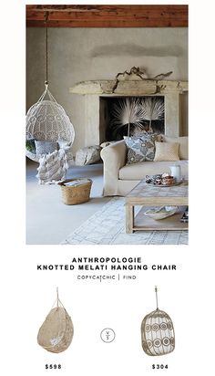 Anthropologie Knotted Melati Hanging Chair for $598 vs Pier 1 Imports La Fleur Swingasan for $304 | @copycatchic look for less budget home decor design