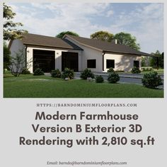 """3 Bed – 3 Bath ~ 2,810 sq. ft.– """"Modern Version B"""" with Office. We sell semi-custom Barndominium floor plans and provide helpful tips to design and build your home whether it is DIY or you are paying a company. #architecture #barndominiums #home #modernbarn #barnhomefloorplans #beautifulbarn #homefloorplan #barnhomedesign #housedesign #barndominiumfloorplans #floorplan #dreambarn #barnhouse #barndominiumliving #barndominiumdesign #barndominiumdesign #barn #exterior #modernfarmhouse…"""