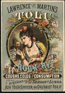 VintageTolu Rock Rye Ad.  Cures, among other things, Consumption (tuberculosis).