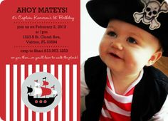 Red Striped Pirate Ship Photo (Set) Birthday Invite Pt Support by PurpleTrail.com