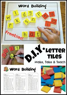 Make your own letter tiles. Free word building template and teaching script! Kindergarten Language Arts, Kindergarten Centers, Kindergarten Reading, Teaching Reading, Guided Reading, Literacy Centers, Literacy Stations, Kindergarten Classroom, Reading Skills