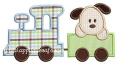 Puppy Train Applique Design / for purchase / he's cute!! love the colours also.