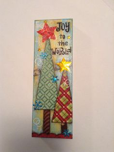 Christmas Mixed Media Canvas Joy to the World by fluttersofwhimsy