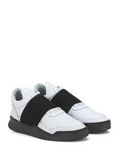 Filling Pieces - Sneakers - Uomo - Sneaker in pelle con fascia elastica frontale e suola in gomma. Tacco 35, platform 20 con battuta 15. - WHITE\BLACK