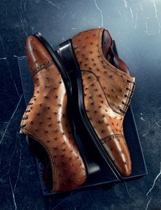 Formal ostrich derby shoes for men. You can get a smart yet stylish look by wearing these beautiful derby shoes. Hot Shoes, Men S Shoes, Formal Shoes, Casual Shoes, Best Dress Shoes, Gentleman Shoes, Derby Shoes, Mens Fashion Shoes, Custom Shoes