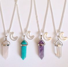 Crystal pendant and moon charm on an 18 inch silver plated chain.Choose from: Rose Quartz, Turquoise, Amethyst, Clear Quartz