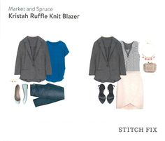 Market and Spruce Kristah Ruffle Knit Blazer