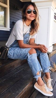 #Summer #Outfits / White T Shirt + Ripped Pants Overall