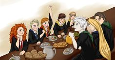 The big four and the frozen sisters first night at Hogwarts (by yunnasukiga5 on deviantART)